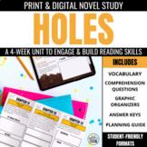 Holes Book Unit: Print & Digital Novel Activities