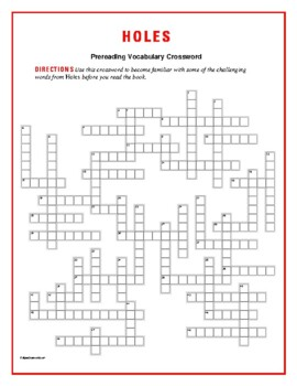 Holes: 50-Word Prereading Vocabulary Crossword--Use w/Book