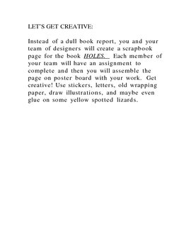 Holes Assessment- Scrapbook style book report