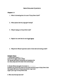 Holes Book Unit of chapter questions