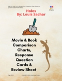Holes Book And Movie Review Comparison Charts And Response Question Cards