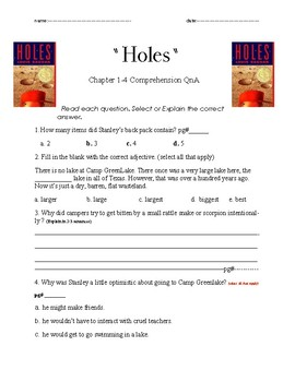 Holes Ch 1-4 QnA