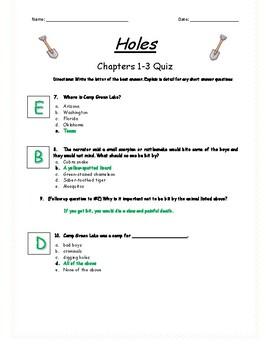 Holes - Chapter 1-3 Quiz - ANSWER KEY (Editable)