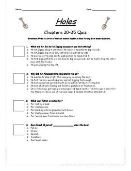 Holes - Chapter 30-35 Quiz - ANSWER KEY (Editable)