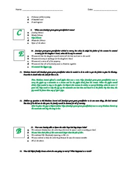 Holes - Chapter 6-7 Quiz - ANSWER KEY (Editable)