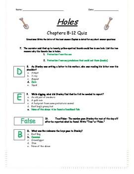 Holes - Chapter 8-12 Quiz - ANSWER KEY (Editable)