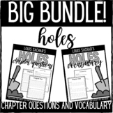 Holes Chapter Questions and Chapter Vocabulary Bundle