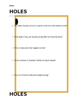Holes Chapters 1-30 Reading Quiz