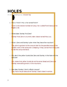 Holes Chapters 31-50 Reading Quiz