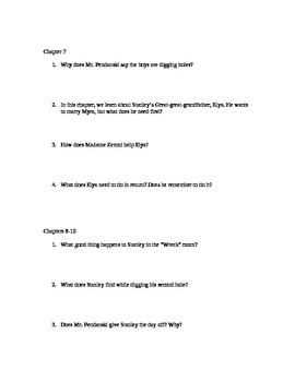 Holes Comprehension Questions
