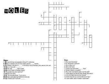 Holes Crossword Puzzle