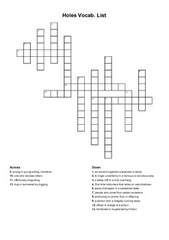 Holes Crossword Puzzle
