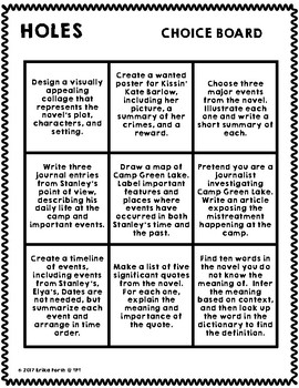 Holes - Differentiated Choice Board