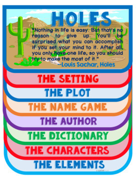 Holes Digital Novel Unit, Literary Analysis, Chapter Questions, FlipBook