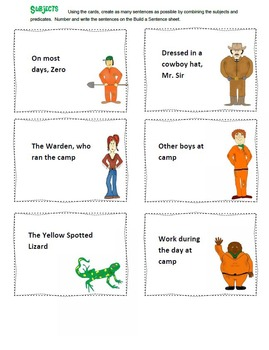 Holes by Louis Sachar Grammar -  Subjects and Predicates