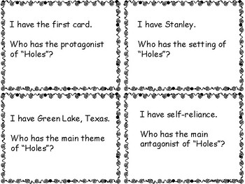 """Holes """"I Have Who Has"""" Game novel study comprehension louis sachar"""