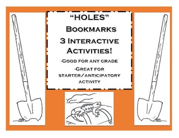 Holes Interactive Bookmark Activity!