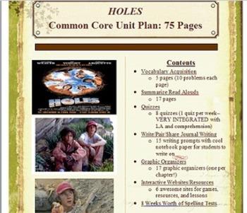 Holes (Loius Sachar) ELA Common Core Complete Unit & Book Study