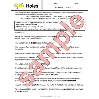 Holes Louis Sachar Chapter Questions, Vocabulary, Journal Prompts, Novel Exam