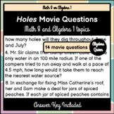 Holes Movie Questions - Math 8 and Algebra 1 Topics