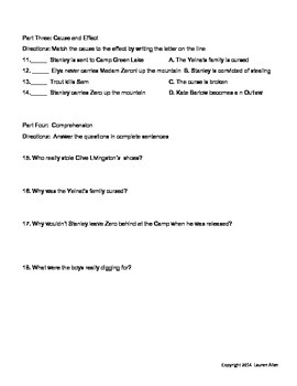 Holes Novel Final Test- 3rd to 4th grade reading level