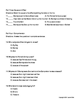Holes Novel Final Test- Below 3rd grade reading level, ESL, SPED