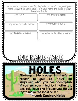 Holes Novel Unit, 18 Literary Terms Cards , FlipBook Project, Activities, Crafts