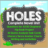 Holes Complete Novel Unit, Literary Analysis, Chapter Questions, FlipBook