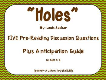 """""""Holes"""" Pre-Reading Group Discussion Questions and Anticipation Guide"""