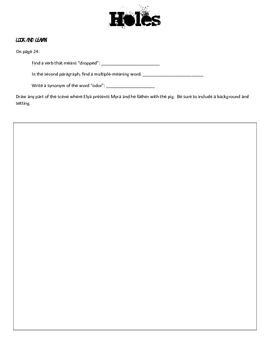 Holes Reading Response Journal