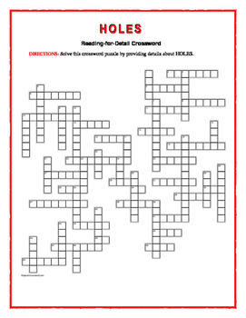 Holes: Reading-for-Detail Crossword—Challenging!