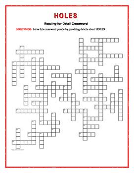 Amazing Holes: Reading For Detail Crosswordu2014Challenging!