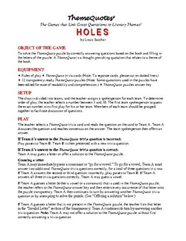 Holes Trivia Game—192 Questions! Fun for the Whole Class!