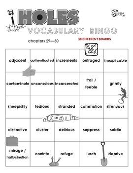 Holes Vocabulary Bingo
