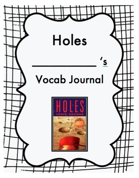 Holes Vocabulary Journal and Notebook