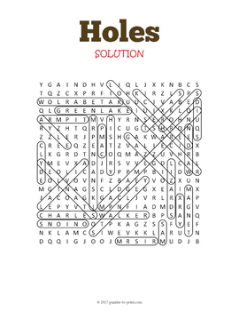Holes Word Search Puzzle