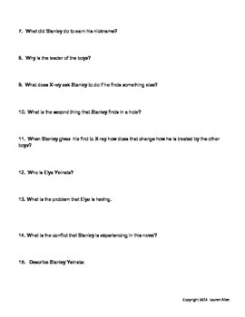 Holes book chapter 1-17 quiz at and above 6th grade level