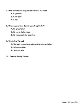 Holes book chapter 1-17 quiz basic and sped,esl level