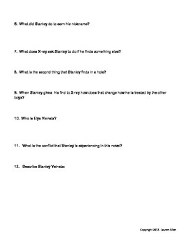 Holes book chapter 1-17 quiz low or below level 6th grade level