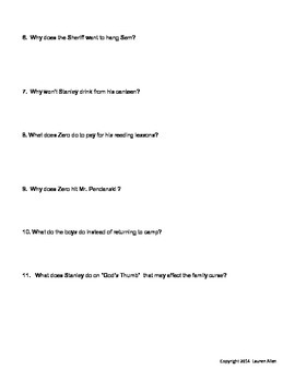 Holes book chapter 18-39 quiz  below level to very below level