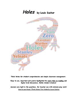 Holes by Louis Sachar Comprehension notes, discussions & Reader's Theater!
