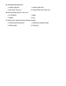 Holes by Louis Sachar Quiz Chapters 23-35