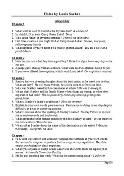 Holes by Louis Sachar - Differentiated Reading Questions