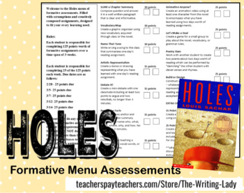 Holes by Louis Sachar Formative Assessment Menu