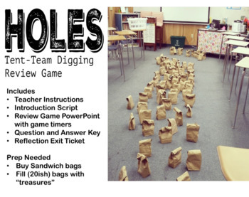 Holes by Louis Sachar Hole Digging Review Game Bag Activity