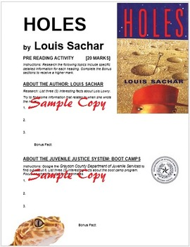 Holes by Louis Sachar Pre-Reading Activity Web Quest