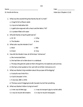 Holes by Louis Sachar Quiz Chapters 13-22