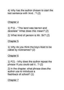 Holes by Louis Sachar Reading Comprehension Questions