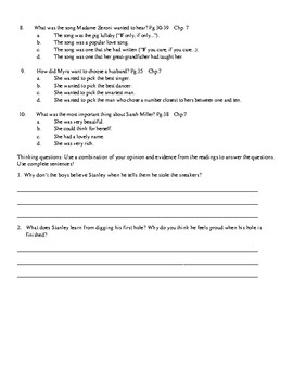 Holes by Louis Sachar Worksheets, Art Projects, & Assessment Unit