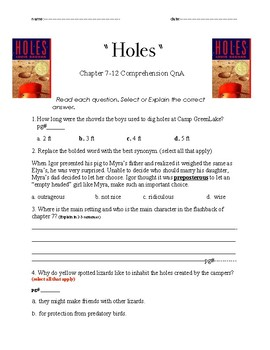 Holes ch 7-12 Comprehension and Vocabulary Questions